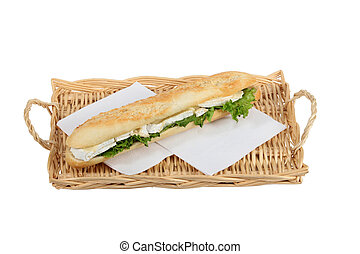 Sandwich on a wicker tray