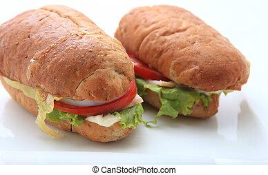sandwich on white background