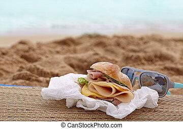 sandwich, på, a, strand