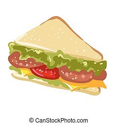 Sandwich panini fast food flat vector icon - Sandwich fast...