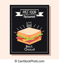 sandwich, restaurant, nourriture, menu, jeûne, délicieux, carte