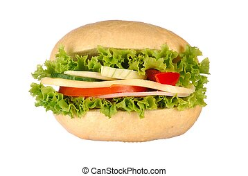 Sandwich - roll with ham, cheese and vegetables isolated on...