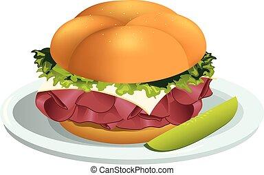 sandwich rosbif, illustration