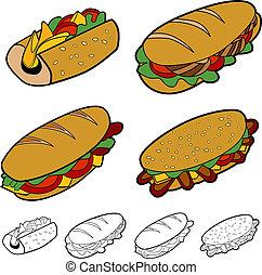 sandwich, sæt, cartoon