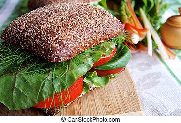 sandwich, sain, seigle, conseil bois, bread-tomato, cuisine