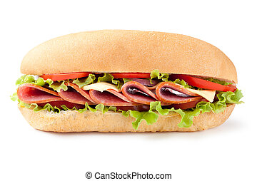 sandwich - Sandwich with salami and vegetables on white...
