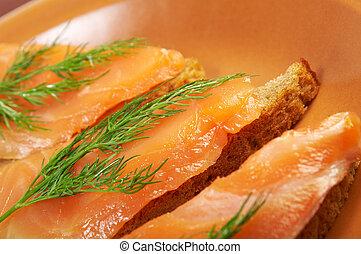 sandwich, saumon, fumé