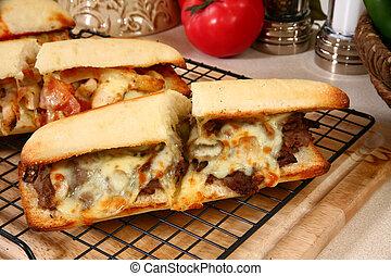sandwich, sous-marin, boeuf
