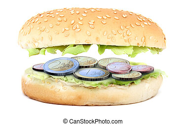 sandwich stuffed with euro coins 3d illustration