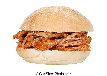 sandwich, tiré, porc, isolé