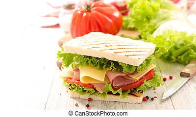 sandwich toast with salad, cheese and ham