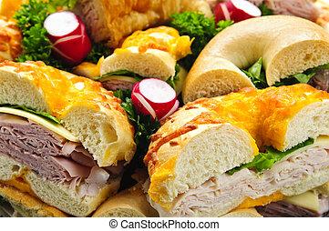 Sandwich tray - Assorted bagel sandwich platter with meat...