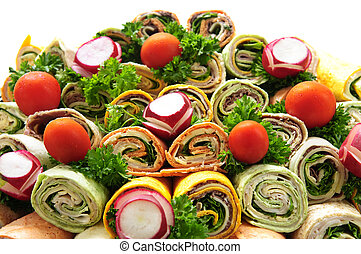 Sandwich tray - Closeup on platter of assorted meat tortilla...