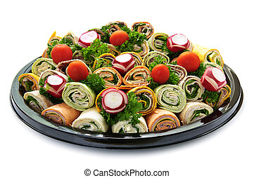 Sandwich tray - Isolated platter of assorted meat tortilla ...