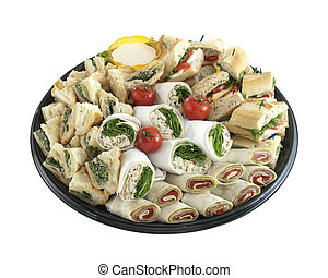 Sandwich tray - a tray of sandwiches and wraps on tray ready...