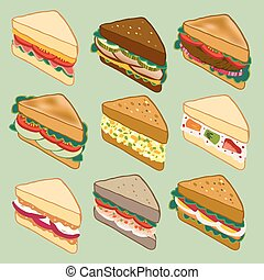 Sandwich variety parade vector illustration for restaurant, fast food, and more