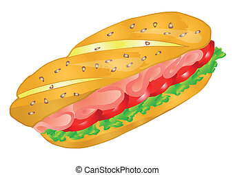 sandwich isolated on white background. 10 EPS