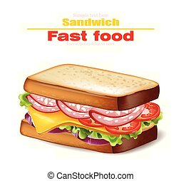 Sandwich Vector realistic. Fast food 3d detailed illustrations
