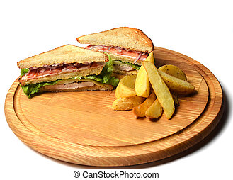 Sandwich with baked potatoes on a wooden board isolated on white background. Restaurated food. Fast food.
