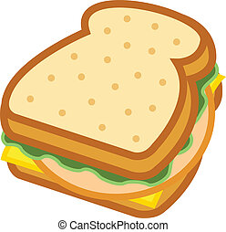 Sandwich with bread, lettuce, bologna or lunchmeat and ...