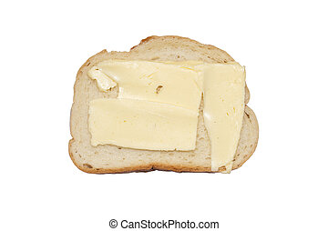 Sandwich with butter isolated on a white background.