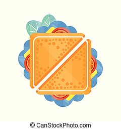 Sandwich with cheese and vegetables vector Illustration on a white background