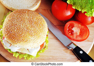 sandwich with cutlet - fresh and tasty hamburger with cheese...