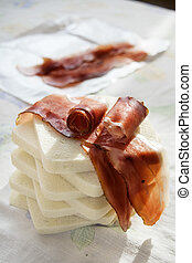 sandwich with filling of speck or Italian smoked ham