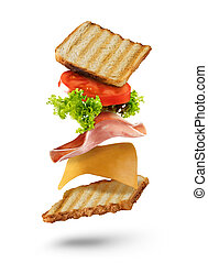 Sandwich with flying ingredients on white background - Fresh...