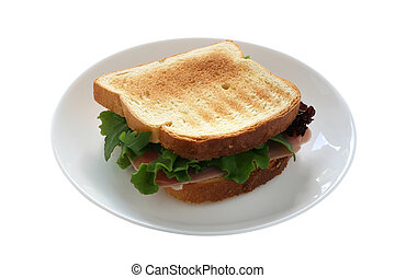 sandwich with ham and salad