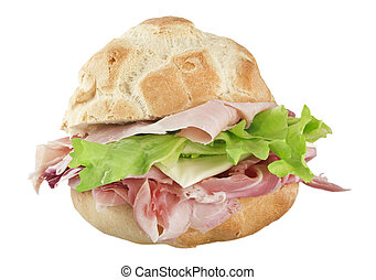 sandwich with ham, cheese and lettuce.