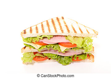 sandwich with ham, cheese and vegetable on white background