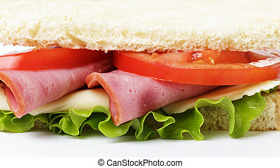 sandwich with ham, cheese and vegetables