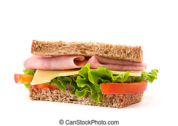 Sandwich with ham, cheese and vegetables isolated on white background