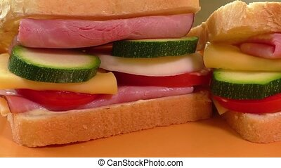 Sandwich with ham, cheese, mayonnaise, tomato, radish,...