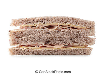 Sandwich with ham, cheese isolated on white background