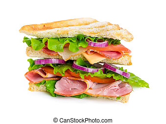 Sandwich with ham, cheese, tomato and onion