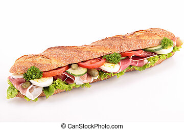 sandwich with ham, lettuce, cucumber and tomato