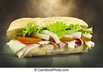 sandwich with ham onion tomatoes salad and cheese