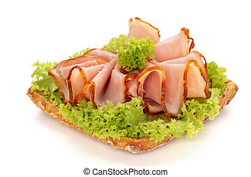 Sandwich with ham sausage on white background.