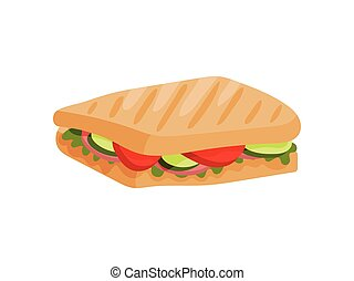 Rectangular sandwich with ham, tomato and cucumber. Vector illustration on white background.