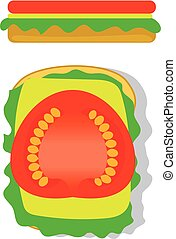 Sandwich with Lettuce Cheese and Tomato Top and Side View