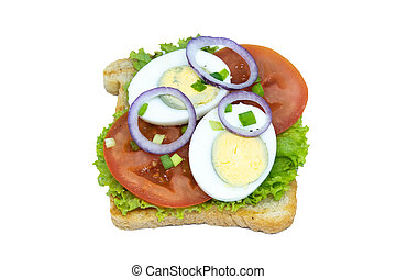 Sandwich with lettuce, eggs, tomatoes and purple onions. Isolated on a white background