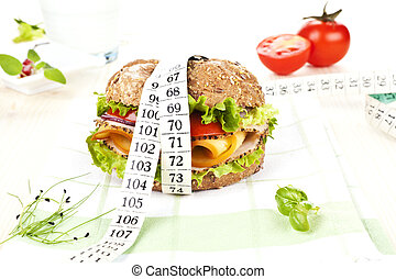 Sandwich with measuring tape.