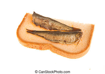 sandwich with of sprats on a isolated background