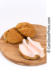 Sandwich with pork ham isolated on white background