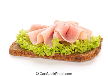Sandwich with pork ham on white background.