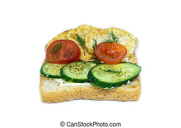 Sandwich with potatoes, gurtz and tomatoes isolated on a white background