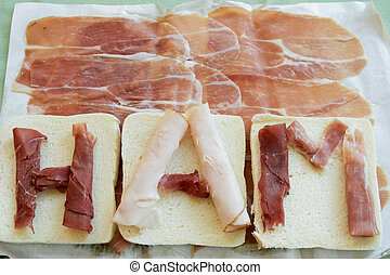 sandwich with raw ham