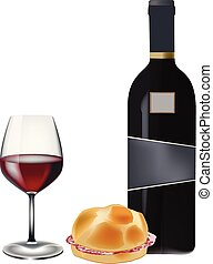 sandwich with salami and glass of wine